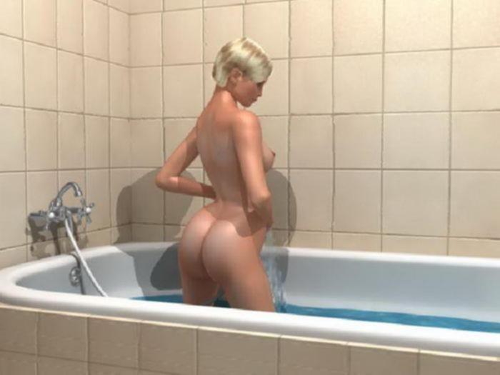 3d блондинка моет свою волосатую пизду в ванной
