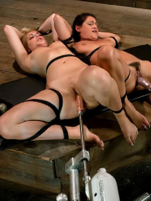 Секс машина трахает двух сучек