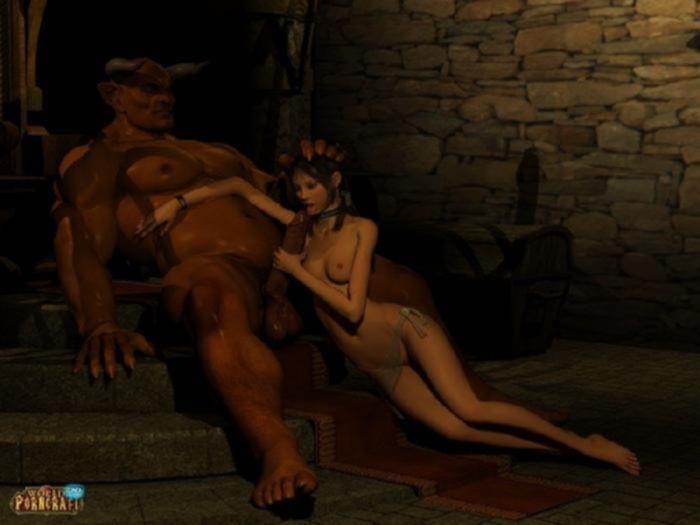 Худенькие телочки дрочат громадные члены рогатых демонов